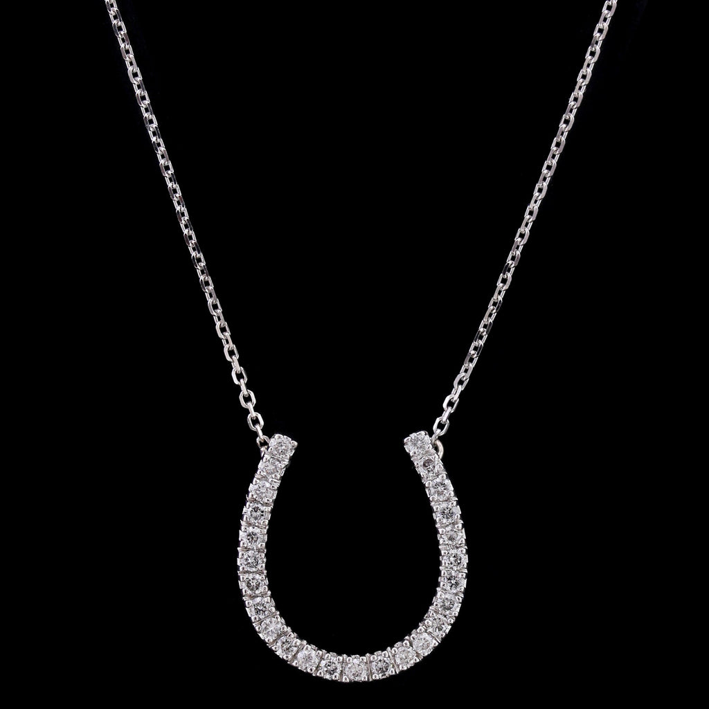 14k white gold diamond horseshoe pendant longs jewelers 14k white gold diamond horseshoe pendant aloadofball Image collections