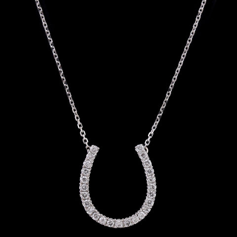 14K White Gold Diamond Horseshoe Pendant