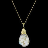 Vintage Horace Welch 14K Yellow Gold Large Floating Opal Pendant
