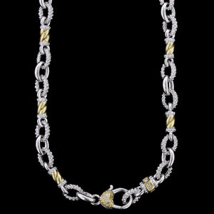 Judith Ripka Sterling Silver and 18K Yellow Gold Diamond Necklace