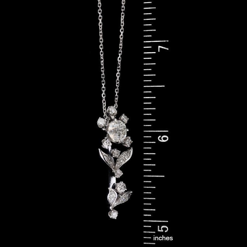 14K White Gold Estate Diamond Flower Pendant