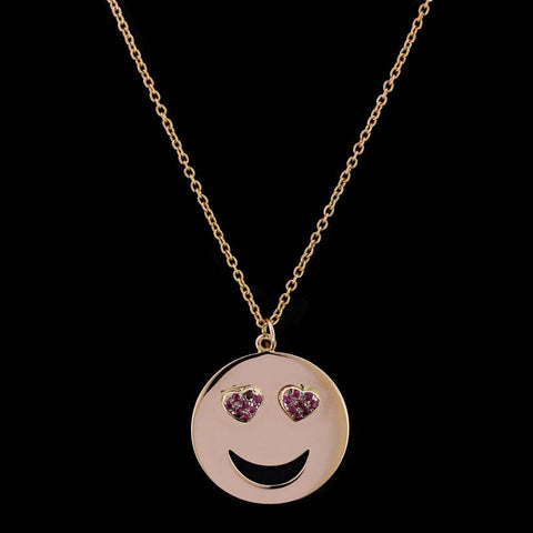 18K Rose Gold Ruby Heart Eyes Emoji Pendant