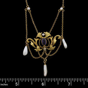 Art Nouveau 14K Yellow Gold Amethyst, Cultured Freshwater Pearl and Diamond Festoon Necklace