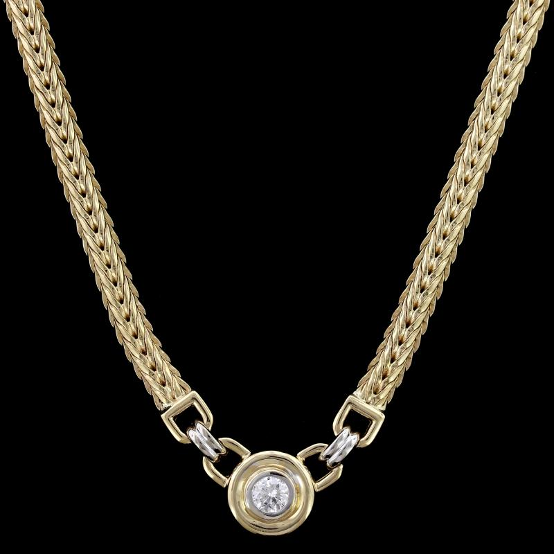 14K Two-Tone Gold Estate Diamond Necklace