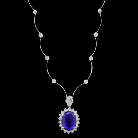 18K White Gold Tanzanite and Diamond Necklace