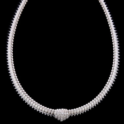 Carlo Weingrill 18K White Gold Estate Diamond Tubogas Necklace