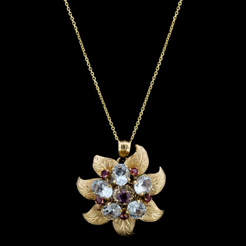 14K Yellow Gold Ruby and Aquamarine Flower Pendant