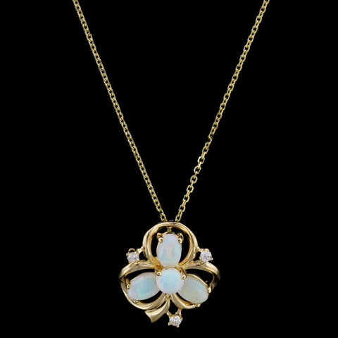 14K Yellow Gold Opal and Diamond Clover Pendant