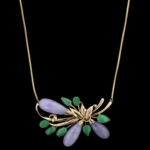 14K Yellow Gold Lavender Jadeite and Jadeite Necklace