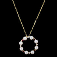14K Yellow Gold Cultured Pearl, Ruby and Diamond Circle Pendant