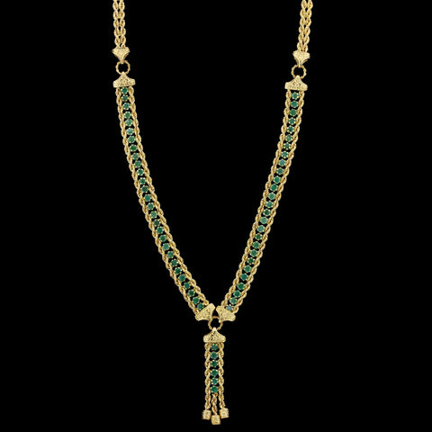 18K Yellow Gold Estate Emerald Necklace