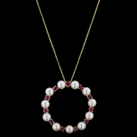 14K Yellow Gold Cultured Pearl and Ruby Circle Pendant