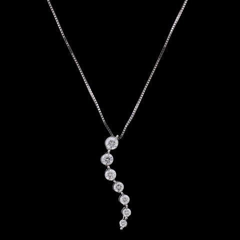 14K White Gold Diamond Journey Pendant