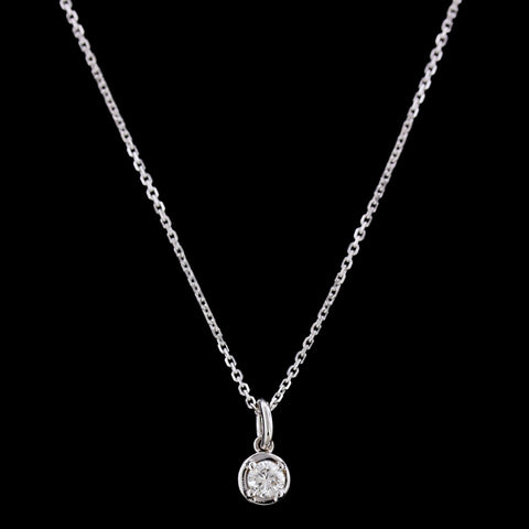 14K White Gold Diamond Solitaire Pendant