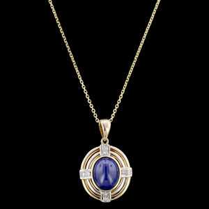 14K Two-Tone Gold Estate Synthetic Star Sapphire and Diamond Pendant