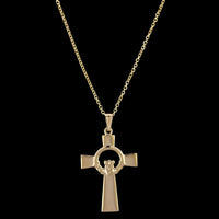 14K Yellow Gold Claddagh Cross Pendant