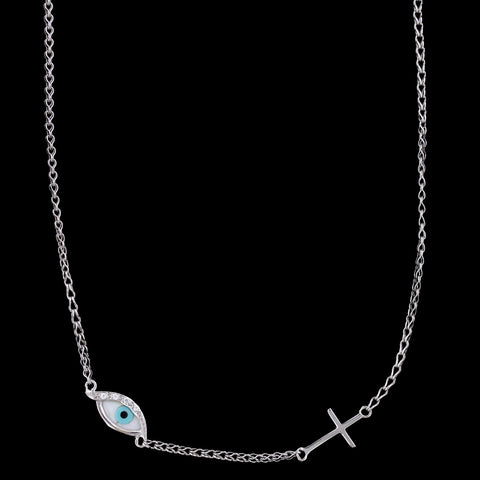 14K White Gold Evil Eye and Cross Necklace