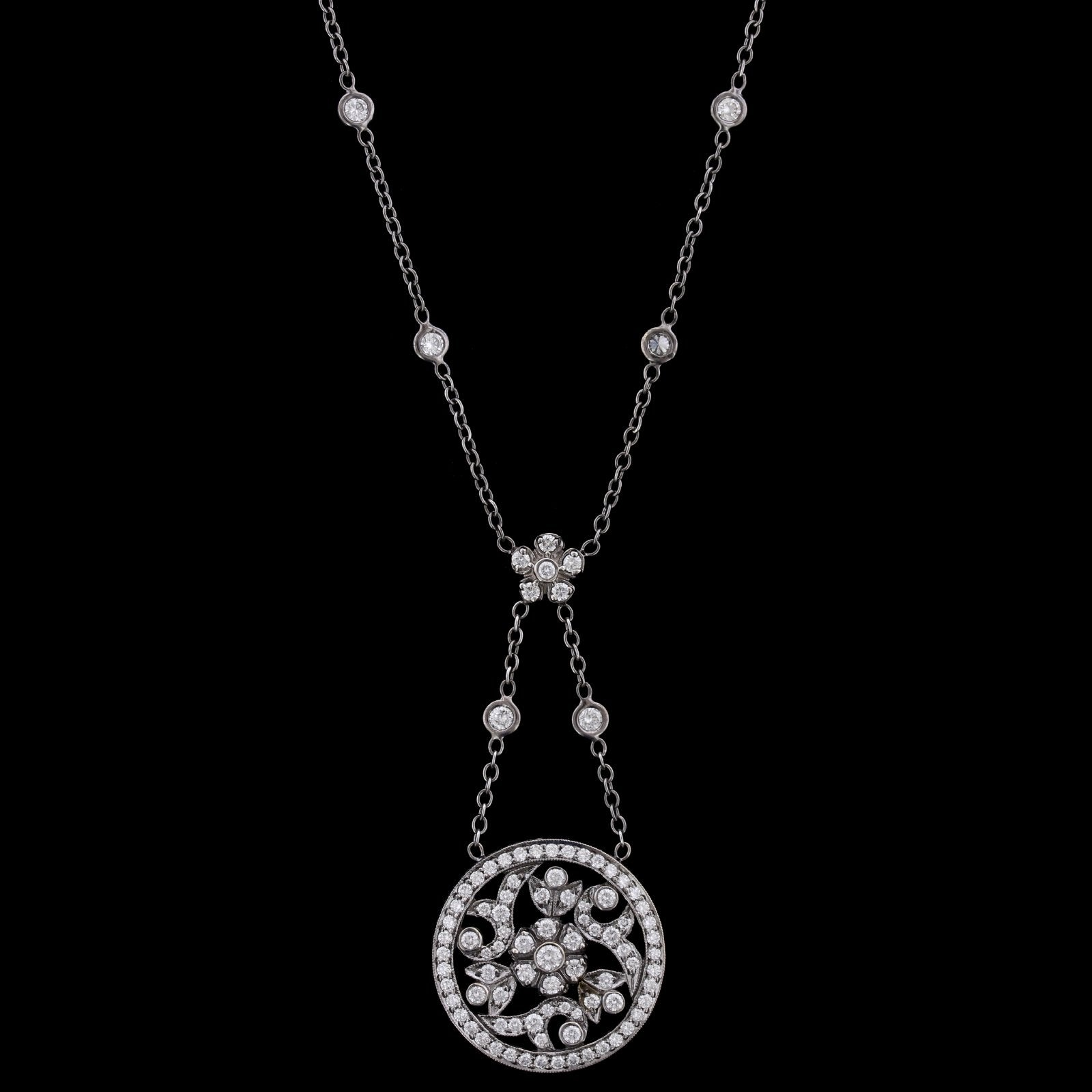 Penny Preville 18K White Gold Estate Black Rhodium Diamond Necklace
