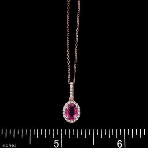 14K Rose Gold Estate Pink Tourmaline and Diamond Pendant
