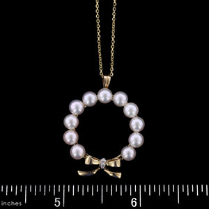 14K Yellow Gold Estate Cultured Pearl and Diamond Pendant