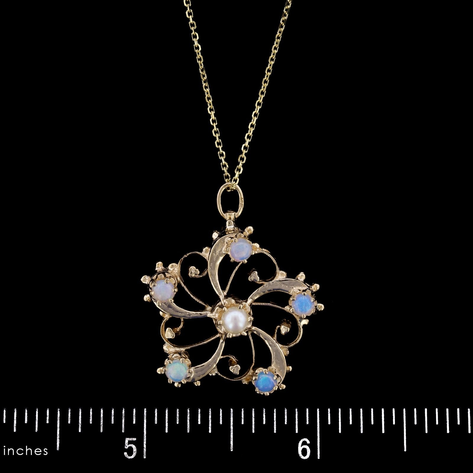 14K Yellow Gold Estate Opal and Cultured Pearl Pendant