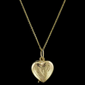 14K Yellow Gold Estate Heart Locket Pendant