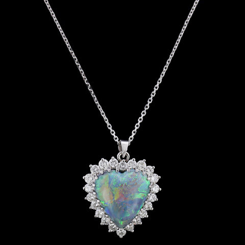18K White Gold Opal and Diamond Heart Pendant