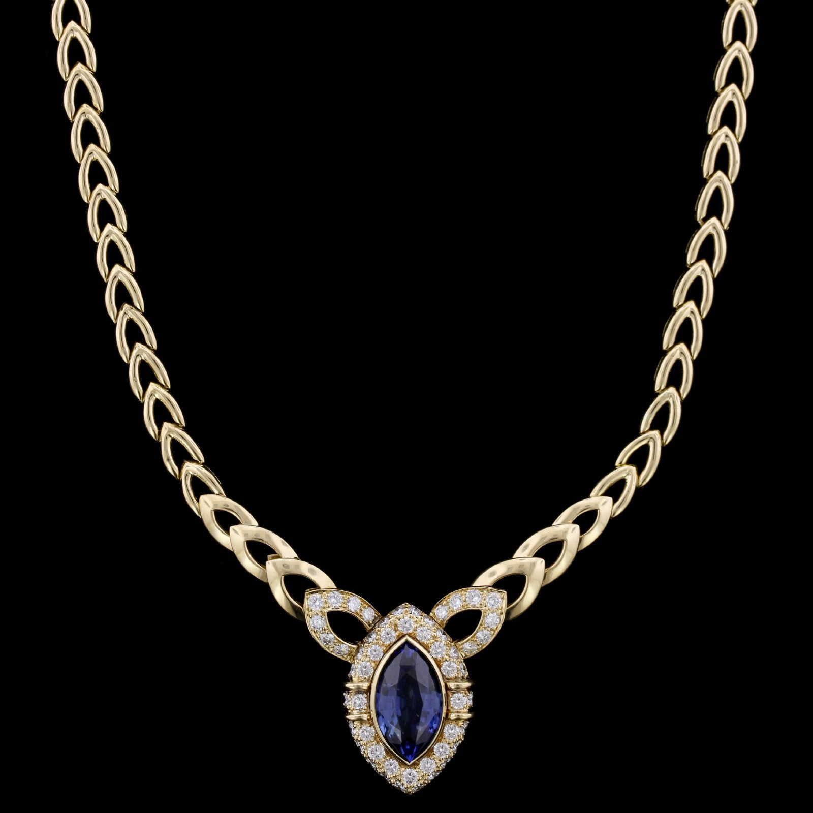 18K Yellow Gold Estate Sapphire and Diamond Necklace