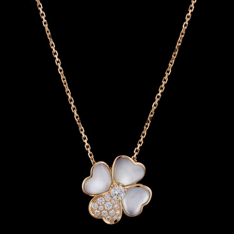 Van Cleef & Arpels 18K Rose Gold Mother of Pearl and Diamond Cosmos Medium Clip Pendant