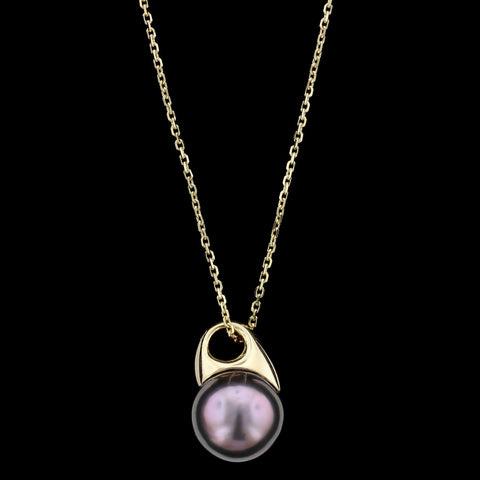18K Yellow Gold Cultured Tahitian Pearl Pendant