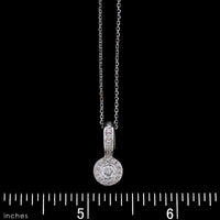 14K White Gold Estate Diamond Halo Pendant