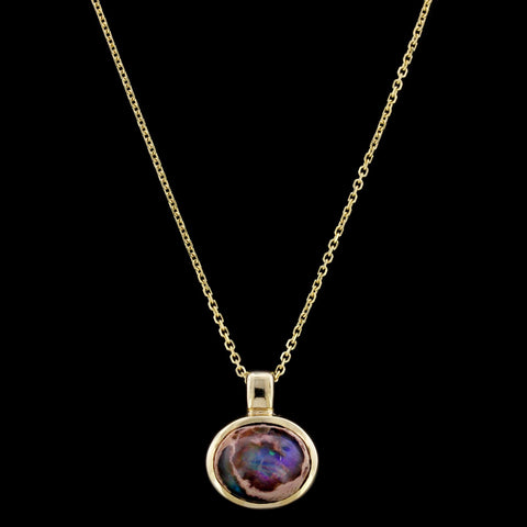 14K Yellow Gold Mexican Fire Opal Pendant