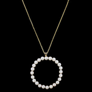 14K Yellow Gold Estate Cultured Pearl Circle Pendant