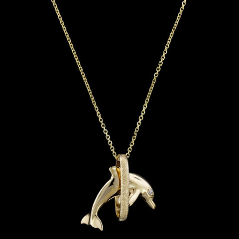 14K Yellow Gold Diamond Dolphin Pendant