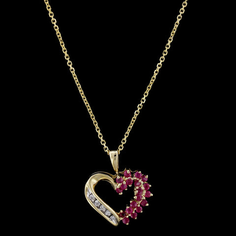 14K Yellow Gold Ruby and Diamond Heart Pendant