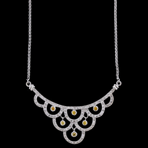 14K White Gold Brown Diamond and Diamond Necklace