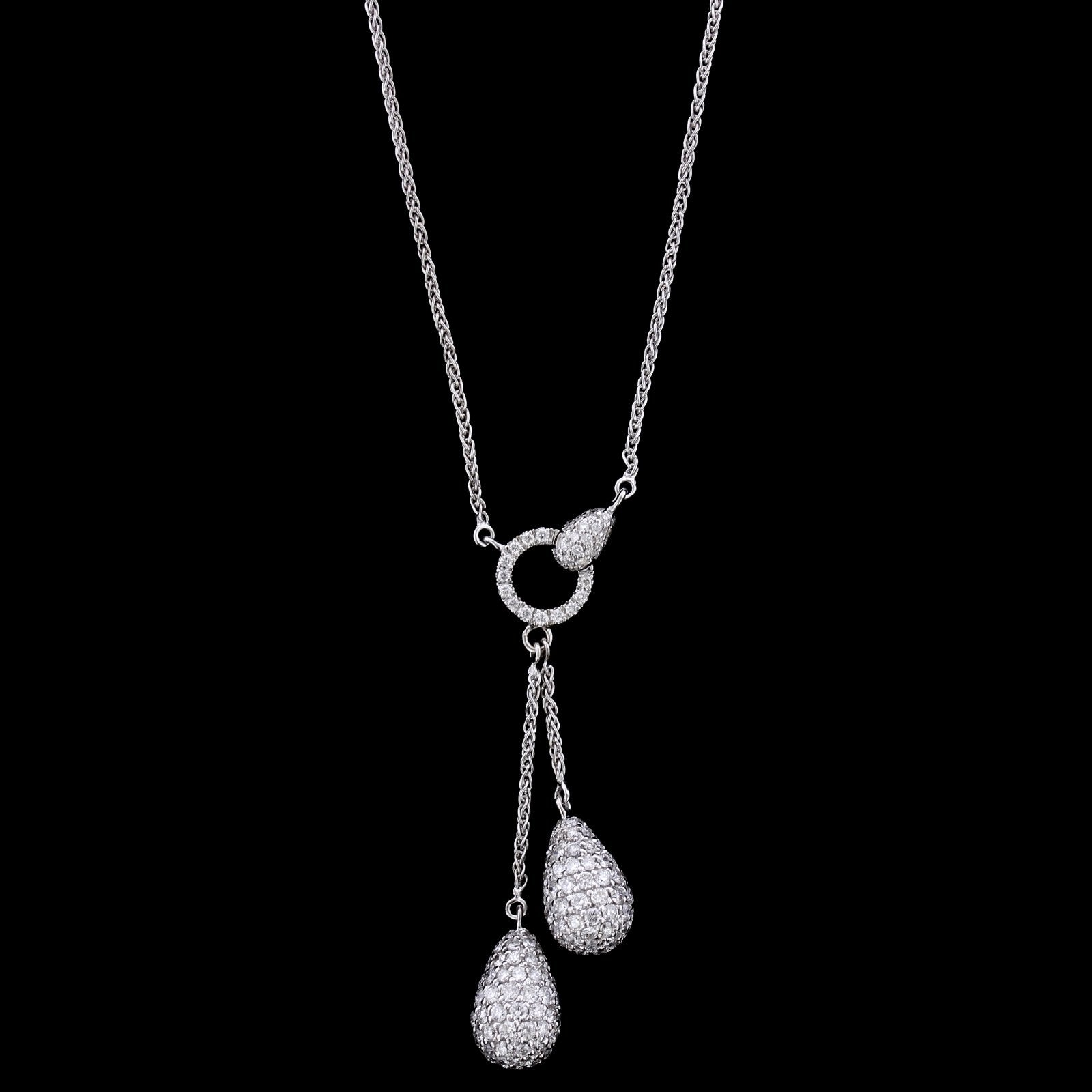 18K White Gold Estate Diamond Lariat Neckace