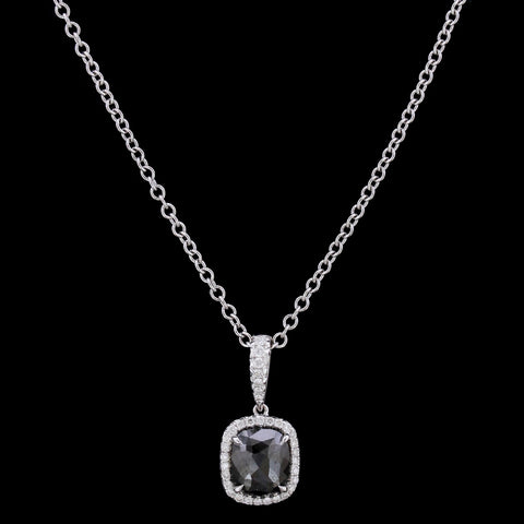 18K White Gold Black Diamond Pendant