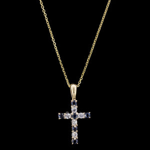 14K Yellow Gold Estate Sapphire and Ruby Cross Pendant
