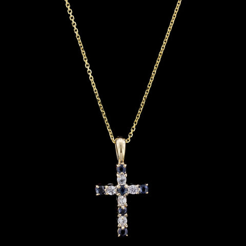 14K Yellow Gold Sapphire and Ruby Cross Pendant