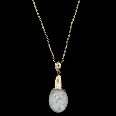 Yellow Gold Floating Opal Pendant