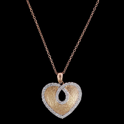 14K Rose Gold Diamond Heart Pendant