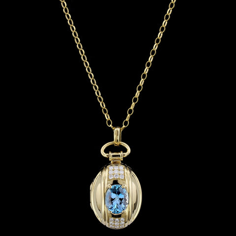 Monica Rich Kosann 18K Yellow Gold Aquamarine and Diamond Locket