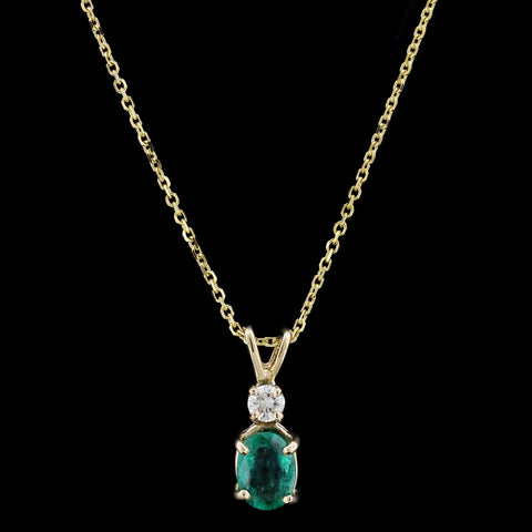 14K Yellow Gold Emerald and Diamond Pendant