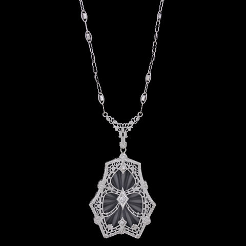 Vintage 14K White Gold Rock Crystal and Diamond Necklace