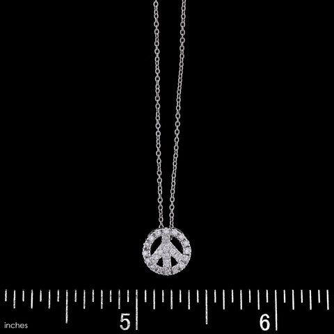 Roberto Coin 18K White Gold Estate Diamond Peace Sign Pendant