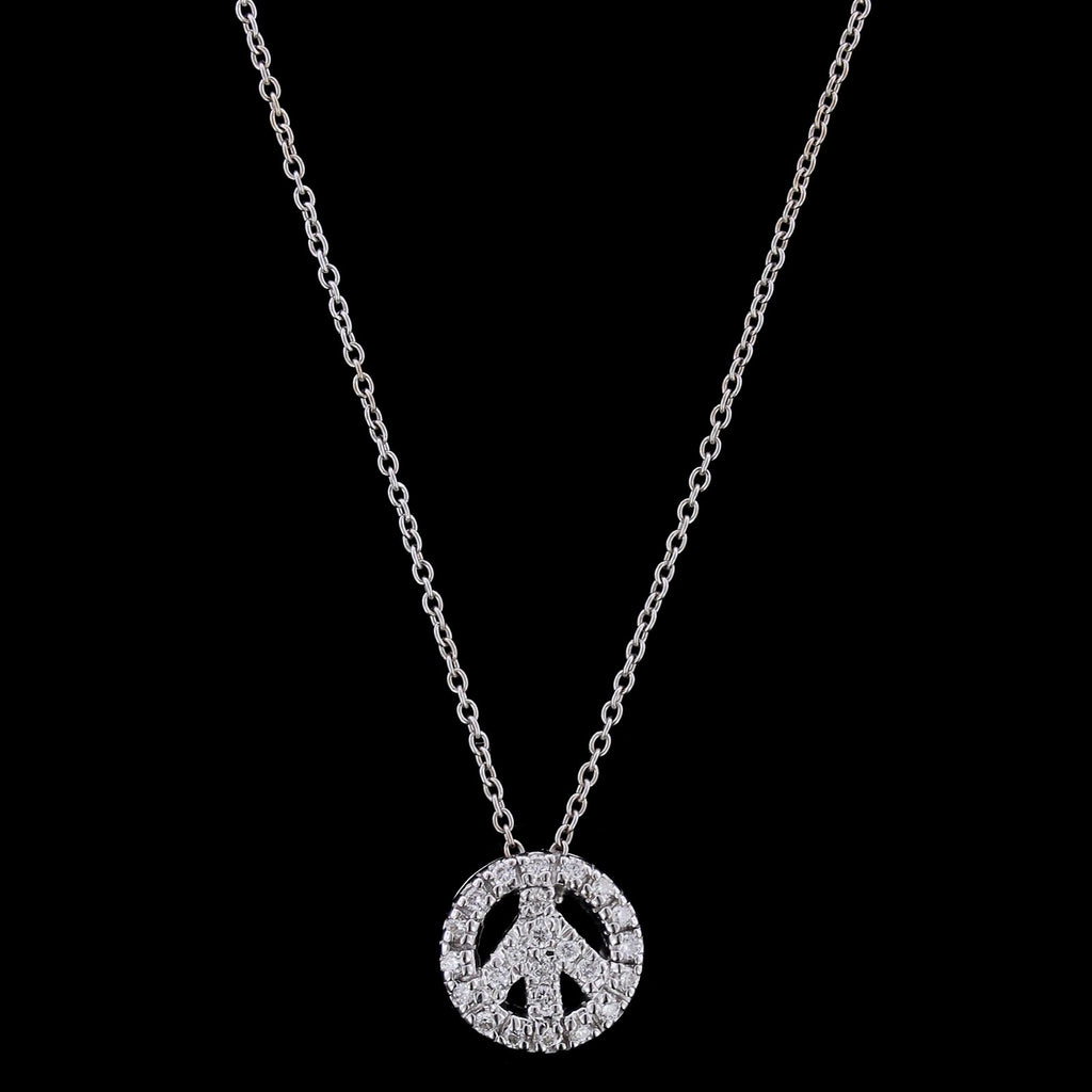 Roberto Coin 18K White Gold Diamond Peace Sign Pendant