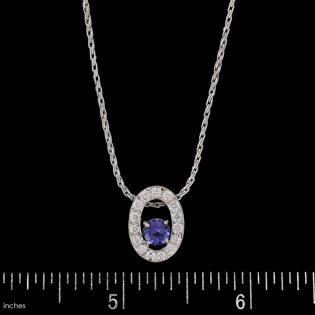 14K White Gold Estate Tanzanite and Diamond Pendant