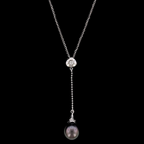14K White Gold Cultured Black Pearl and Diamond Pendant