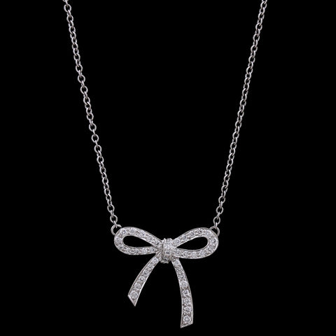 Tiffany & Co. Platinum Estate Diamond Mini Bow Pendant